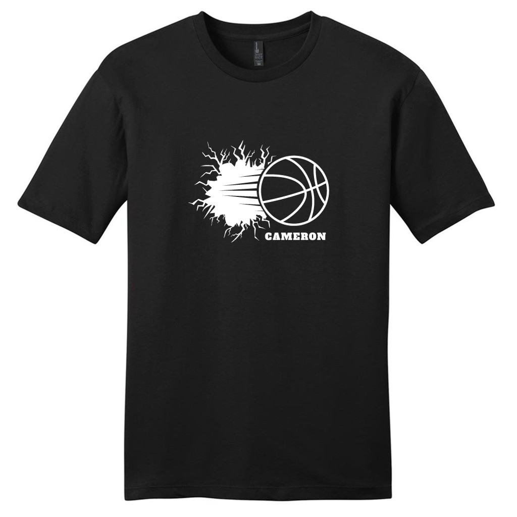 Black Custom Basketball Breaking Through Wall T-Shirt