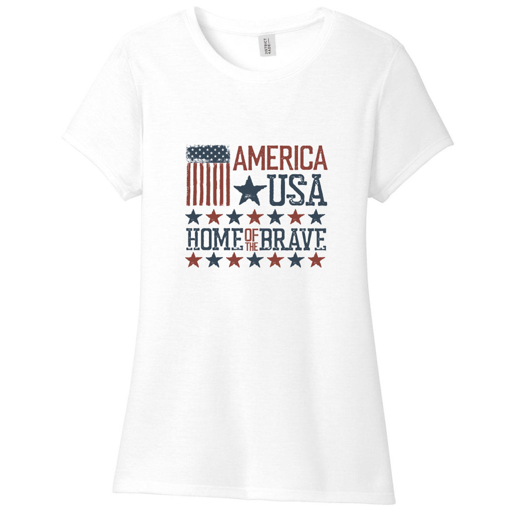 White America USA Home Of The Brave Women's Fitted T-Shirt