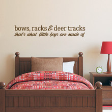 """Bows Racks & Deer Tracks Wall Decals Wall Stickers 60"""" wide x 10"""" tall Sample Image"""