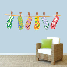 """Hanging Flip Flops Printed Wall Decals 60"""" wide x 20"""" tall Sample Image"""