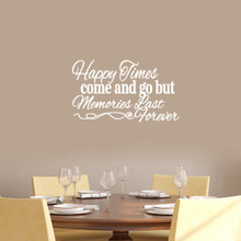 "Happy Times Come And Go But Memories Last Forever Wall Decals Wall Stickers 24"" wide x 14"" tall Sample Image"