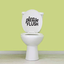 "Please Flush Wall Decals 8"" wide x 6"" tall Sample Image"