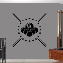"Pool Billiards Wall Decals 40"" wide x 40"" tall Sample Image"