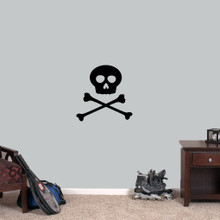 "Skull and Crossbones Wall Decals 18"" wide x 18"" tall Sample Image"