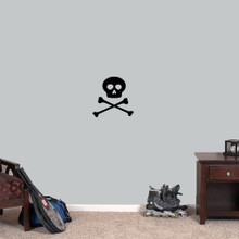 "Skull and Crossbones Wall Decals 12"" wide x 12"" tall Sample Image"