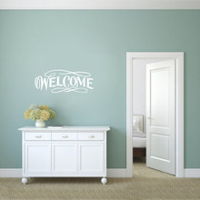 "Fancy Welcome Wall Decals 36"" wide x 14"" tall Sample Image"