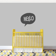 """Hello Word Bubble Wall Decal 24"""" wide x 22"""" tall Sample Image"""