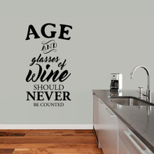 "Age And Glasses Of Wine Wall Decal 27"" wide x 48"" tall Sample Image"