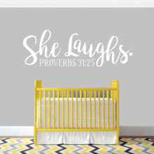 """She Laughs Ohio Wall Decal 48"""" wide x 16"""" tall Sample Image"""
