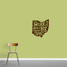 "The Farmer Ohio Wall Decal 16.5"" wide x 18"" tall Sample Image"