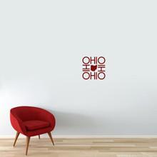 """OHIO OHIO OHIO OHIO Wall Decal 12"""" wide x 12"""" tall Sample Image"""