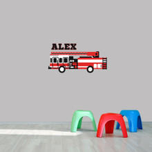 """Custom Name Fire Truck Printed Wall Decal  36"""" wide x 18"""" tall Sample Image"""