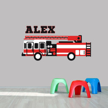 """Custom Name Fire Truck Printed Wall Decal  60"""" wide x 30"""" tall Sample Image"""