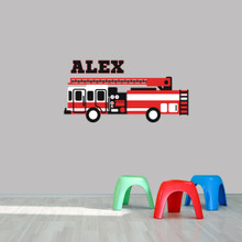 """Custom Name Fire Truck Printed Wall Decal  48"""" wide x 24"""" tall Sample Image"""