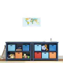 """World Map Atlas Printed Wall Decal 24"""" wide x 12"""" tall Sample Image"""