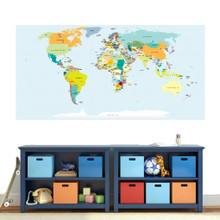 """World Map Atlas Printed Wall Decal 72"""" wide x 36"""" tall Sample Image"""