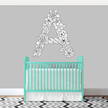 "Custom Floral Monogram Printed Wall Decals 36"" wide x 36"" tall Sample Image"