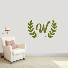 "Custom Olive Branch Wreath Monogram Wall Decal 36"" wide x 22"" tall Sample Image"
