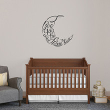 "I Love You To The Moon And Back Script Wall Decal 24"" wide x 24"" tall Sample Image"