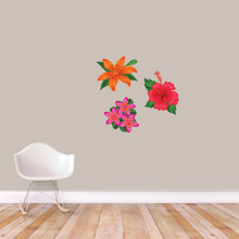 Printed Tropical Flowers Wall Decals Small Sample Image