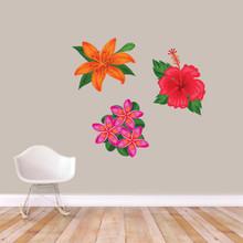Printed Tropical Flowers Wall Decals Medium Sample Image