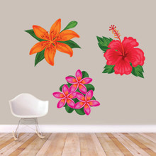 Printed Tropical Flowers Wall Decals Large Sample Image