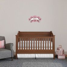 """Custom Name Pink Roses Printed Wall Decal 18"""" wide x 10"""" tall Sample Image"""
