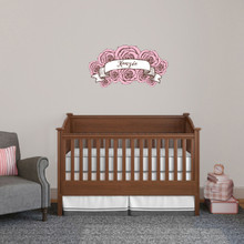 """Custom Name Pink Roses Printed Wall Decal 30"""" wide x 16"""" tall Sample Image"""