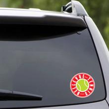 "Printed Bellevue Tennis Vehicle Decal 4"" wide x 4"" tall Sample Image"