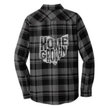 Grey / Black Homegrown Ohio Plaid Flannel Unisex Shirt Back