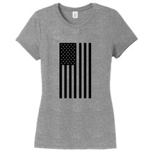 Gray Frost American Flag Silhouette Women's Fitted T-Shirt