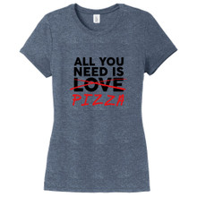 Navy Frost All You Need Is Pizza Women's Fitted T-Shirt