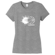 Gray Frost Custom Basketball Breaking Through Wall Women's Fitted T-Shirt