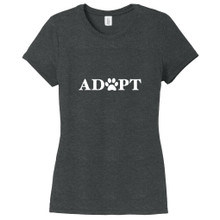 Black Frost Adopt With Paw Print Women's Fitted T-Shirt