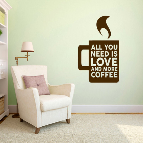 """Love And More Coffee Wall Decals 22"""" wide x 36"""" tall Sample Image"""