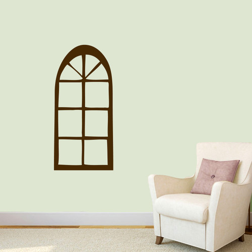 """Arched Window Wall Decal 17"""" wide x 36"""" tall Sample Image"""