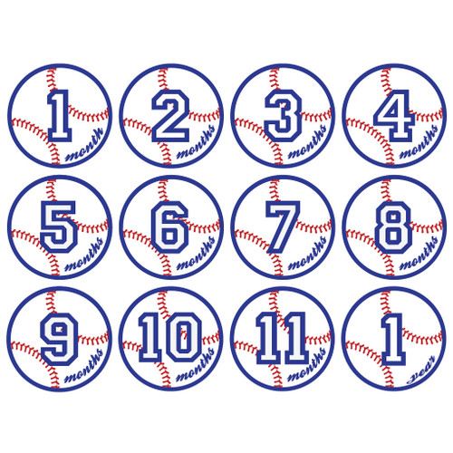 Baseball Monthly Baby Milestone Onesie Stickers Wall Stickers