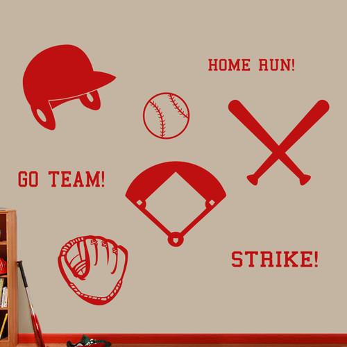 Baseball Set Wall Decals Large Sample Image