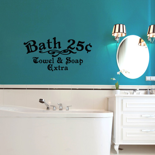"Bath 25¢ Towel & Soap Extra Wall Decals 36"" wide x 18"" tall Sample Image"