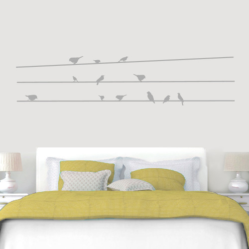 "Birds On Lines Wall Decals 84"" wide x 19"" tall Sample Image"