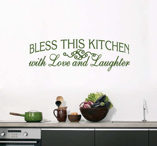 "Bless This Kitchen Wall Decals 50"" wide x 16"" tall Sample Image"