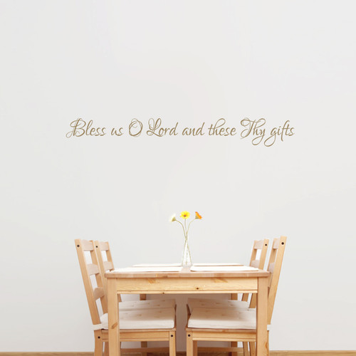 "Bless Us O Lord Wall Decal 48"" wide x 6"" tall Sample Image"