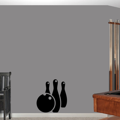 "Bowling Ball and Pins Wall Decals Wall Stickers 22"" wide x 24"" tall Sample Image"