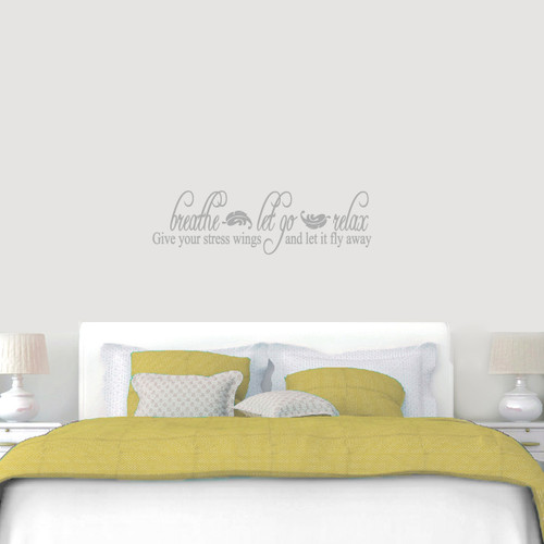 """Breathe Let Go Relax Wall Decal 48"""" wide x 14"""" tall Sample Image"""