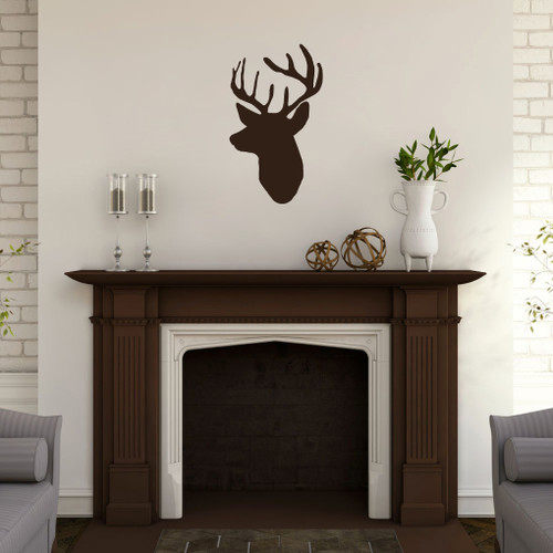 "Mounted Buck Head Wall Decals 14"" wide x 24"" tall Sample Image"