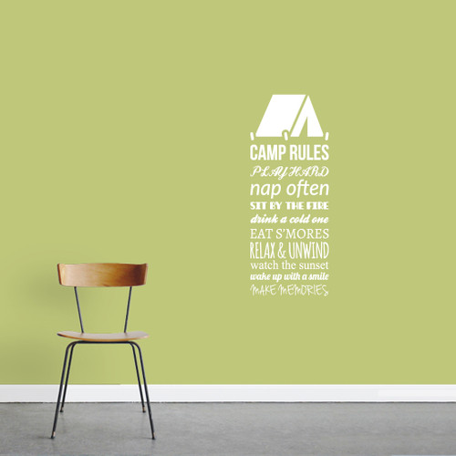 """Camp Rules - Tent Wall Decals Wall Stickers 14"""" wide x 36"""" tall Sample Image"""