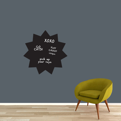 "Chalkboard Starburst Wall Decals 23"" wide x 23"" tall Sample Image (writing not included)"