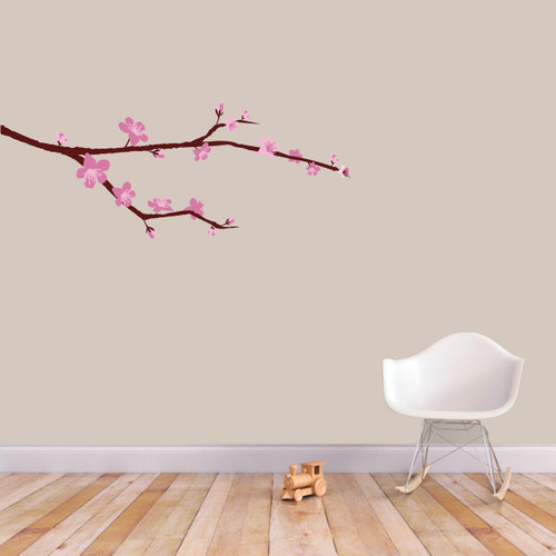 """Cherry Blossom Branch Printed Wall Decal 36"""" wide x 14"""" tall Sample Image"""
