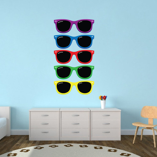 Colorful Sunglasses Printed Wall Decals Large Sample Image