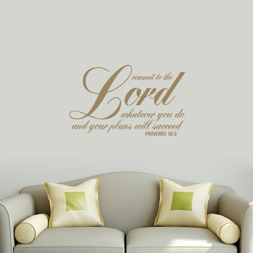 """Commit To The Lord Wall Decal 36"""" wide x 22"""" tall Sample Image"""